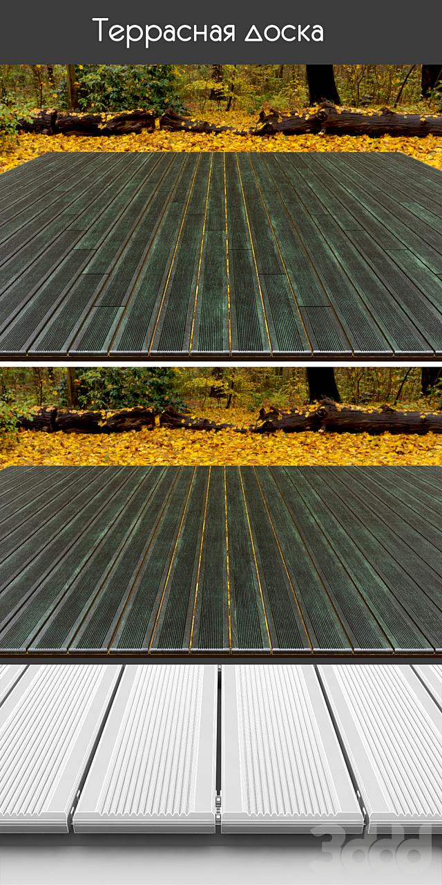 Состаренная террасная доска на лагах, 4 вида, зеленый