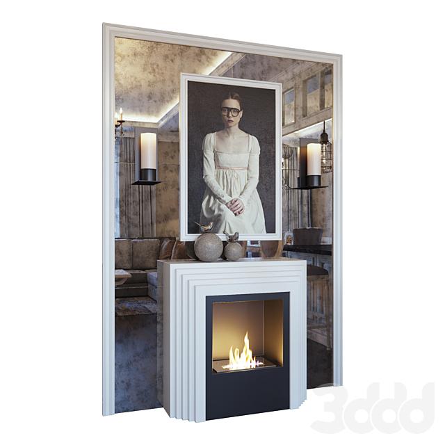 Камин, бра, картина, декор и зеркальное панно (Fireplace sconce picture and decor YOU)