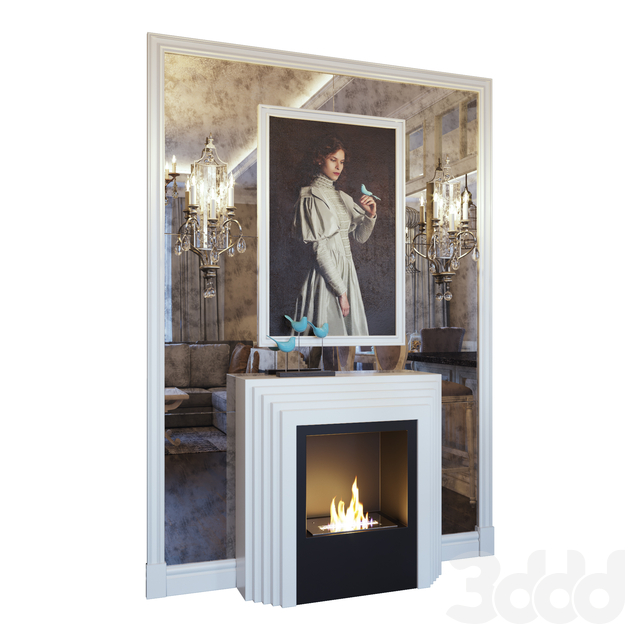 Камин, бра, картина, декор и зеркальное панно. Светлый вариант (Fireplace sconce Gianna picture and decor Blue light YOU)