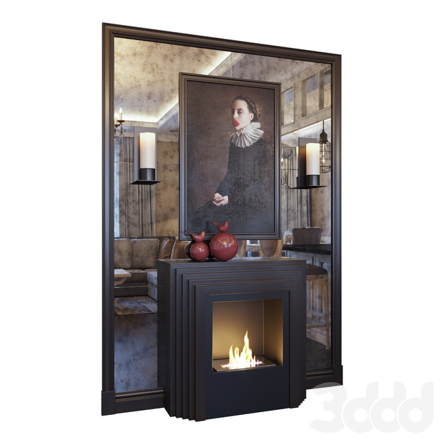 Камин, бра, картина, зеркальное панно и красный декор (Fireplace sconce picture and decor Red dark YOU)