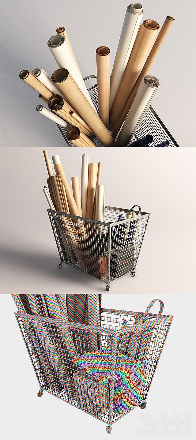 Железная корзина с бумагой