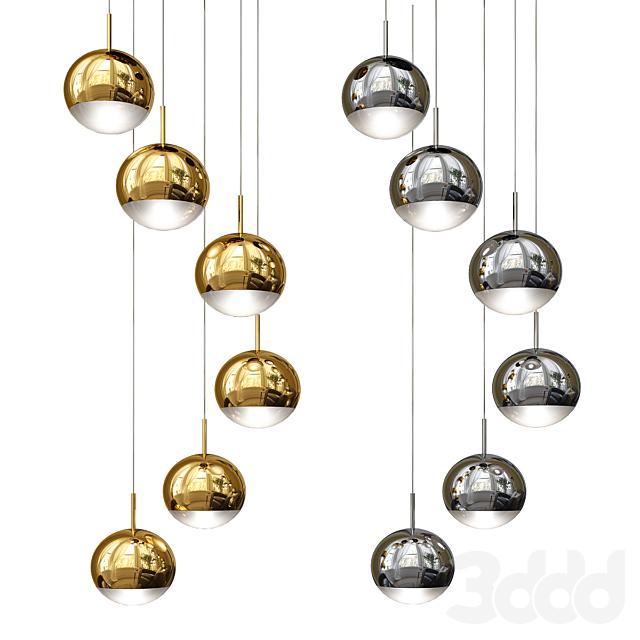 Modern Staircase Chandelier 6 Glass Balls