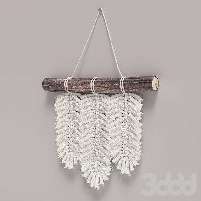 Декор для стены, макраме перья