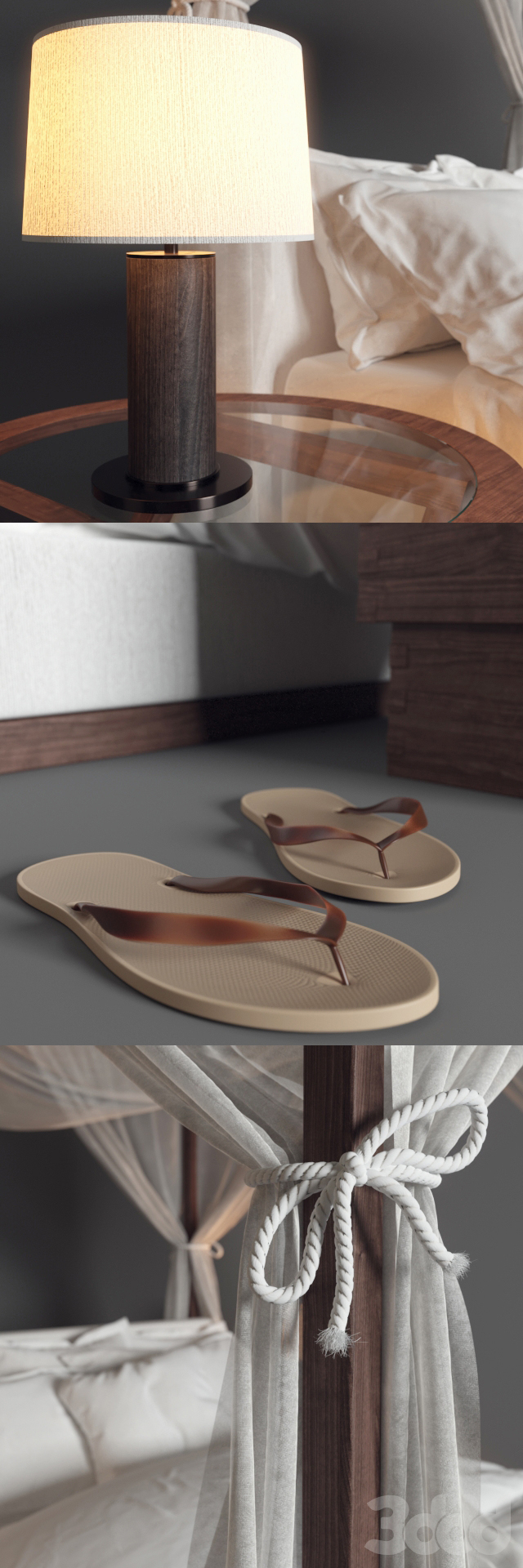Desert Modern Canopy Bed Ralph Lauren (vray GGX)