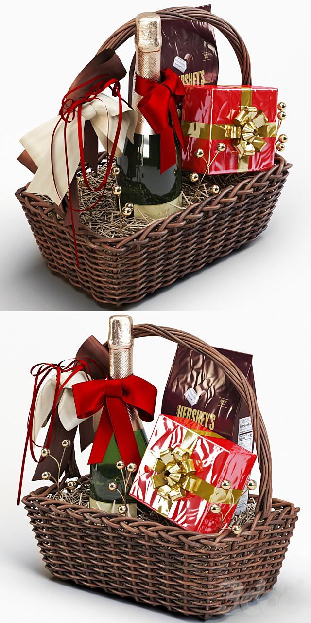 Подарочная корзина с шампанским