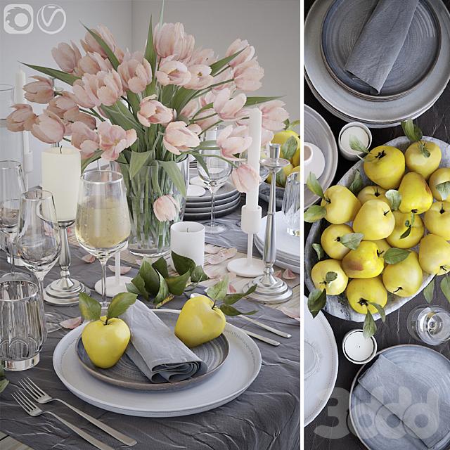 Сервировка стола 27. Сервировка с розовыми тюльпанами