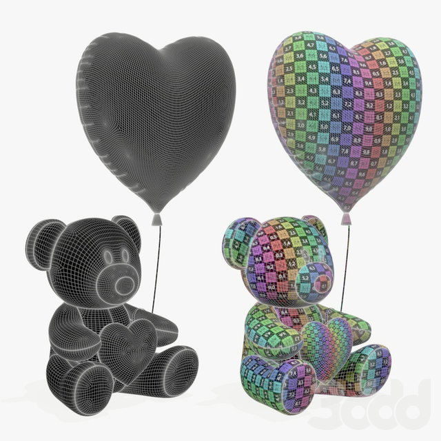 bear teddy plush toy with heart and balloon