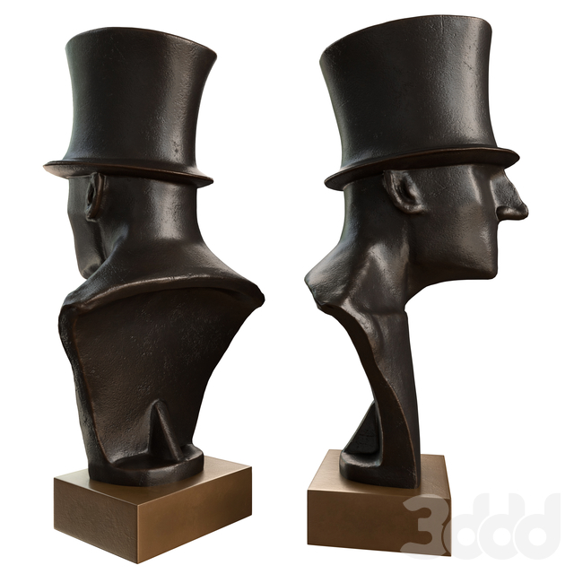 Gentleman with Stovepipe Hat Bust