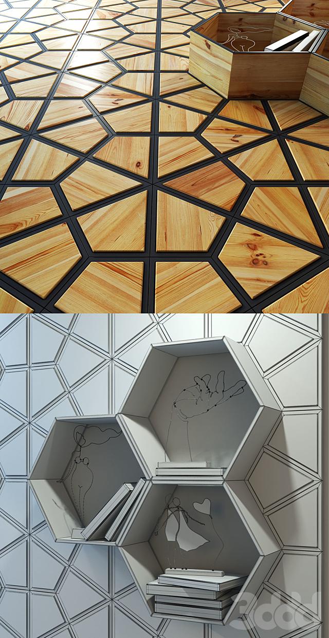Деревянная панель и встроенная полка / ниша