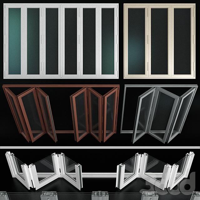 Складывающиеся витражные алюминиевые двери / Folding stained Glass Aluminum Doors