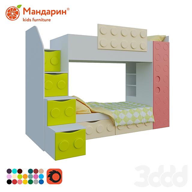 кровать двухъярусная детская с двумя ящиками