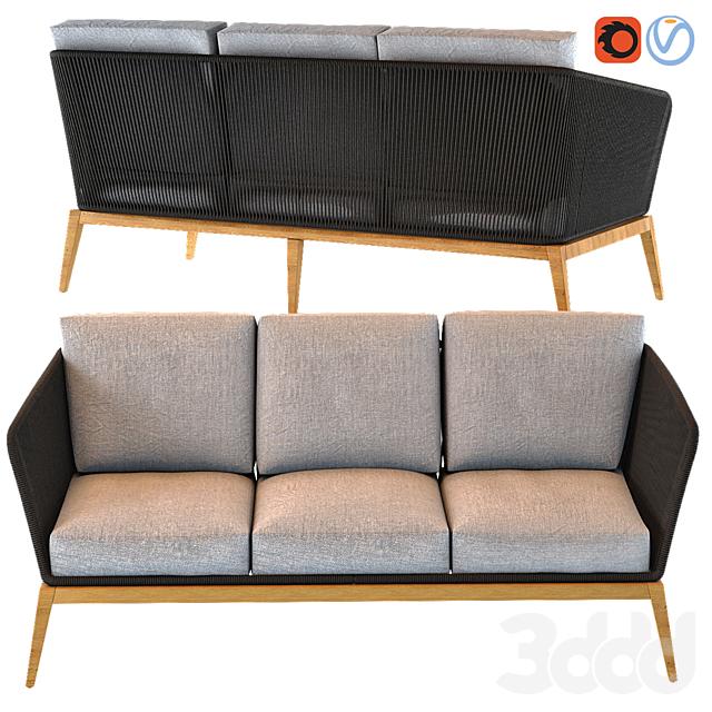 COSTA RICA Anthracite Grey 3-Seater Woven Cord Garden Sofa