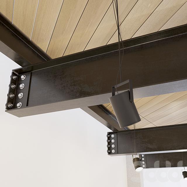 Деревянный потолок по металлическим балкам. 23