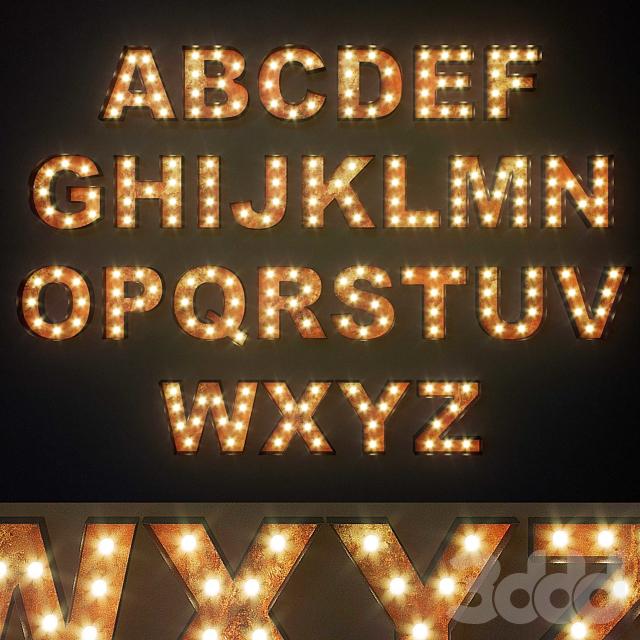 Lighted Metal sign. Set 12. Alphabet
