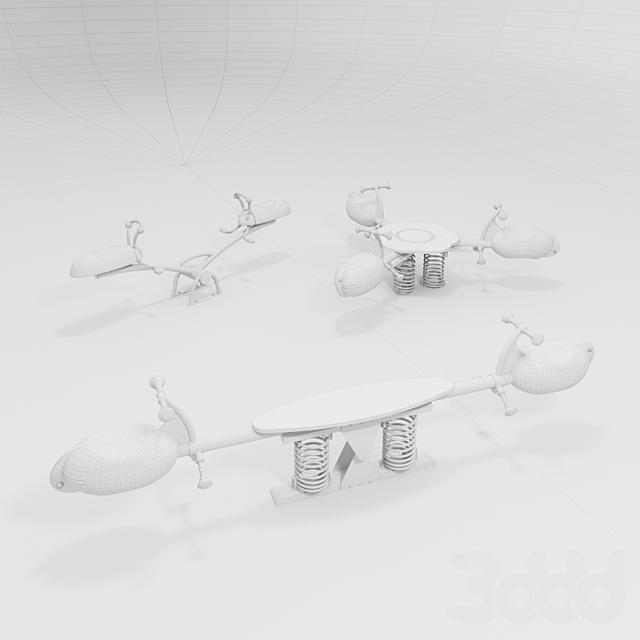 KOMPAN. Качалка «Лесной жук», «Трилистник», «Качели-скакалка»