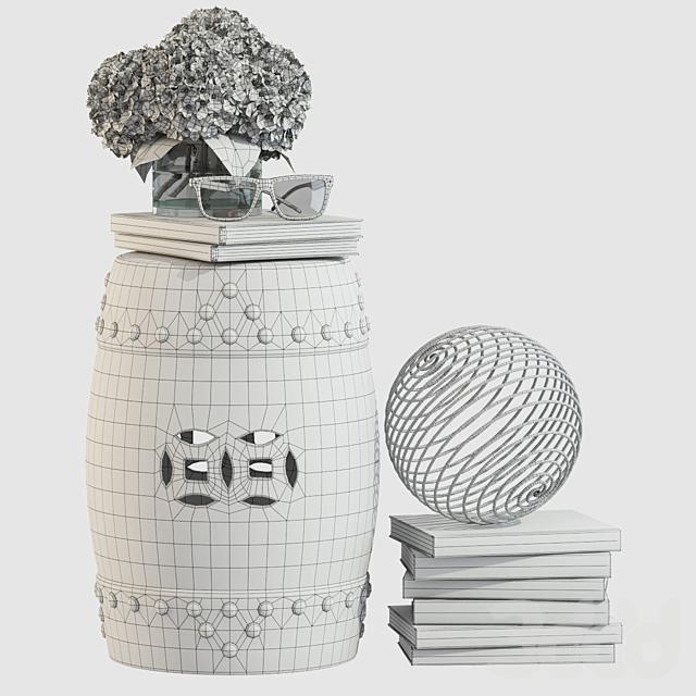 Decorative Set with Ceramic Garden Stool