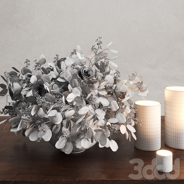 Vase with Eucalyptus and Roses