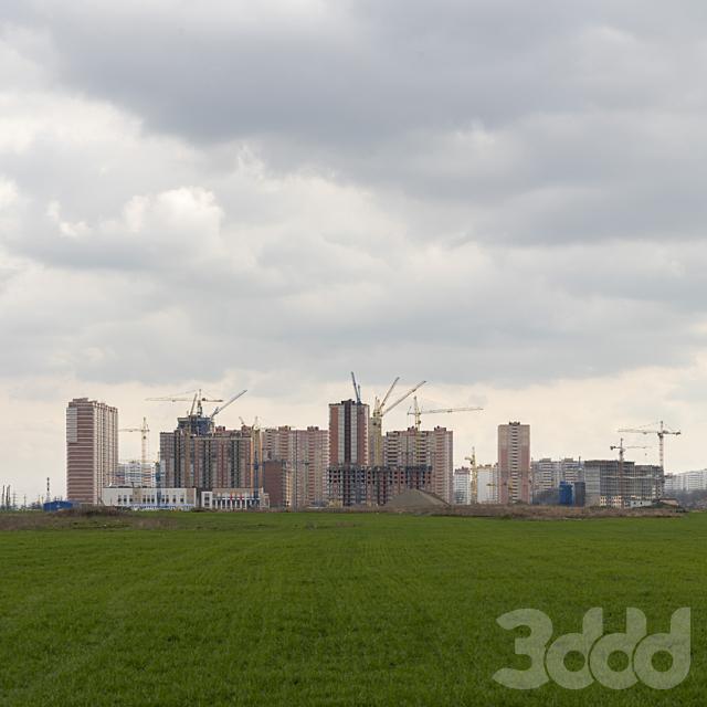 Панорама со стройкой высоток. Краснодар