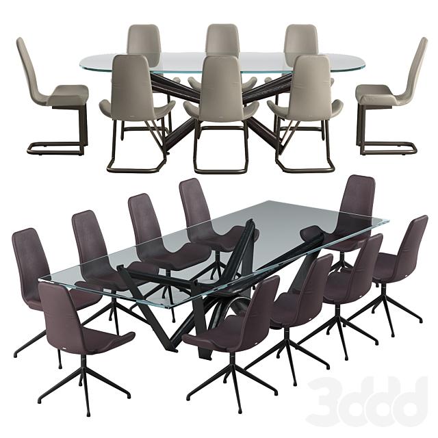 Cattelan italia Flamingo chair Marathon table set