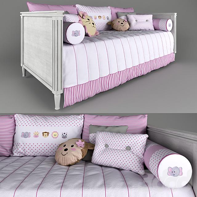 Диван-кровать Tresor Amadeirada и комплект постельных принадлежностей Amiguinhas Safari Rosa