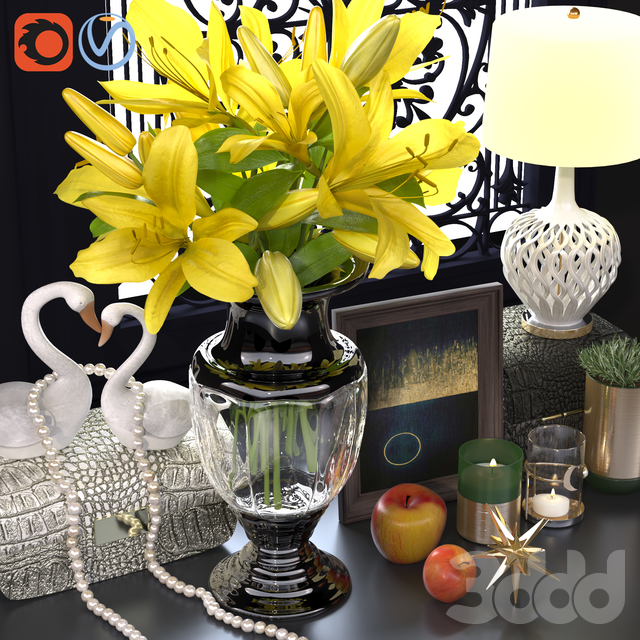 Classic decorative set yellow lily and swan statue