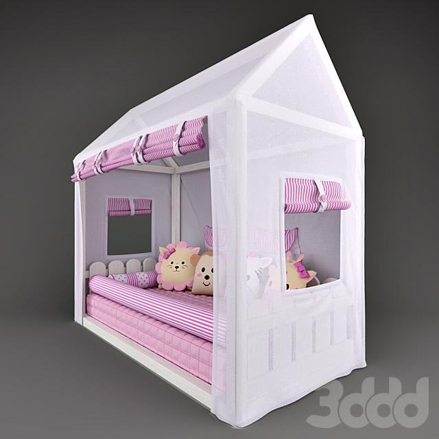 Кровать – домик Casinha Montessorian и балдахин в кроватку  Friends Safari Rose