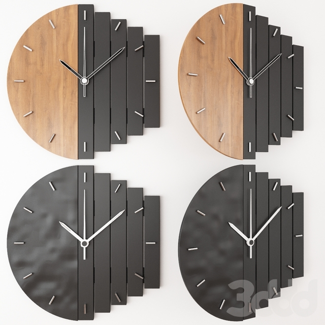 PRAF-XV geometric wall clocks-WOOD+BLACK