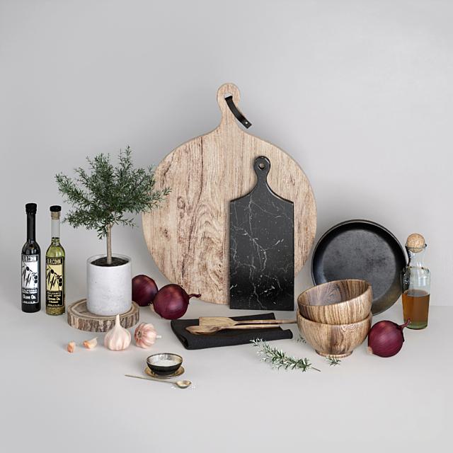 Кухонный набор с красным луком
