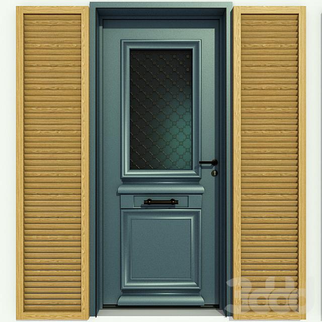 Металлическая входная дверь со стеклами без стекла