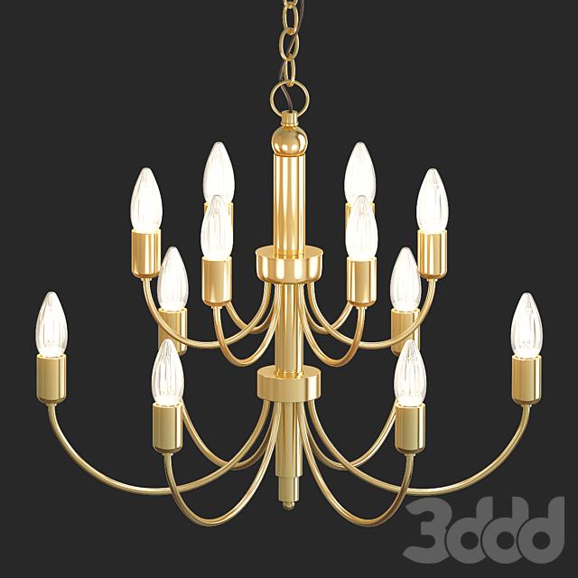 Jamie Young Savoy 25W Antique Brass 12-Light Chandelier