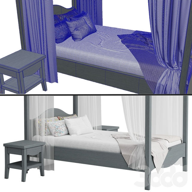 Детская кровать с колоннами №4