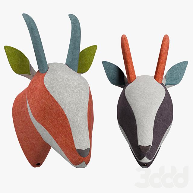 Декоративная голова газели из яркой ткани SOFTHEADS