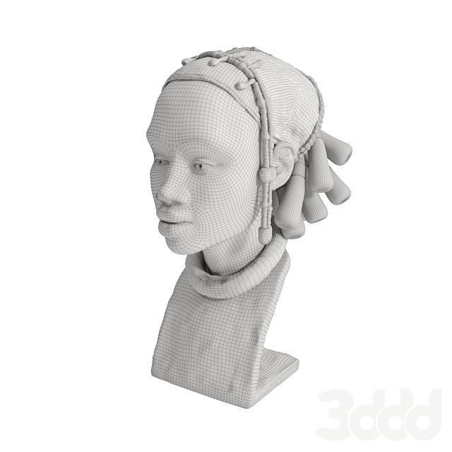 Скульптура, бюст африканки