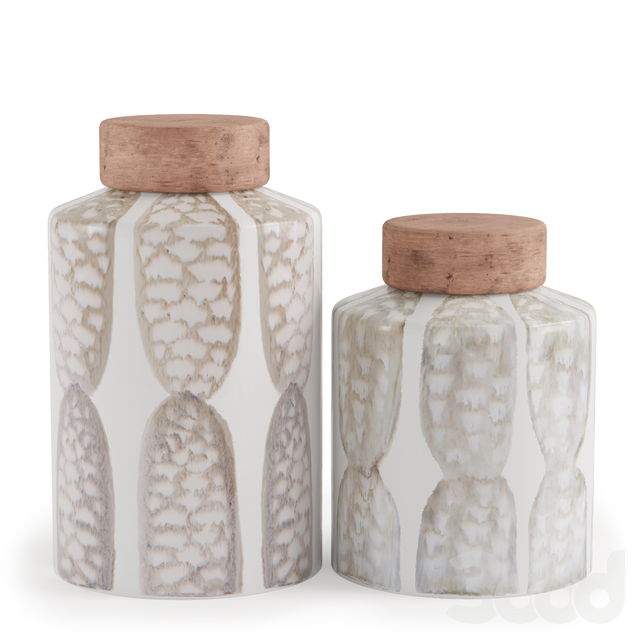 Вазы Zuo Feather Lg Covered Jar Ivory Sage Grn