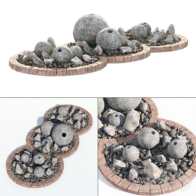Flowerbad stone decor №3 / Клумба с каменным декором