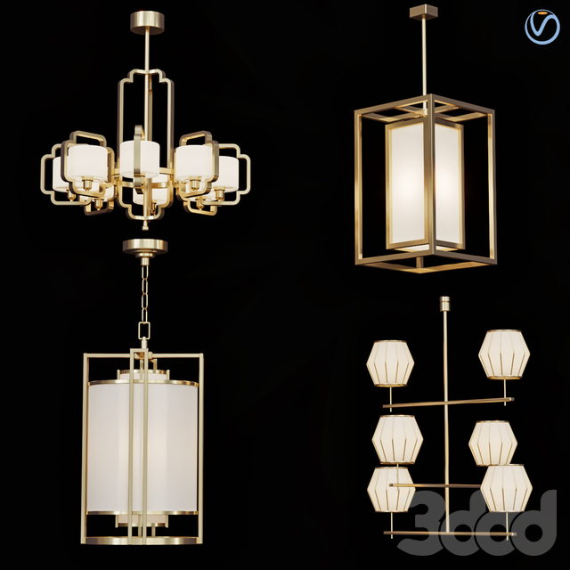 Wide Antique Brass Chandelier and pendant lamps