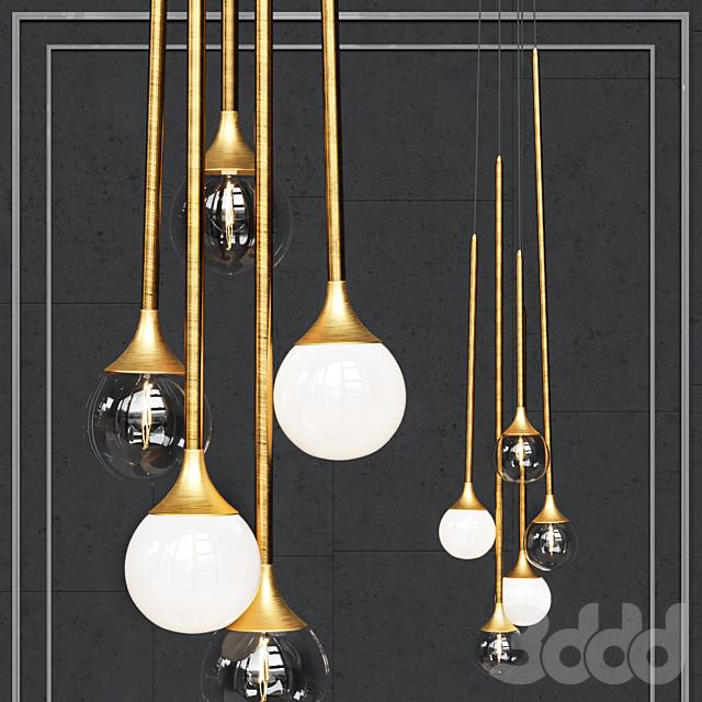 Подвесной светильник Bullarum SS-5 gold clear glass and white shade