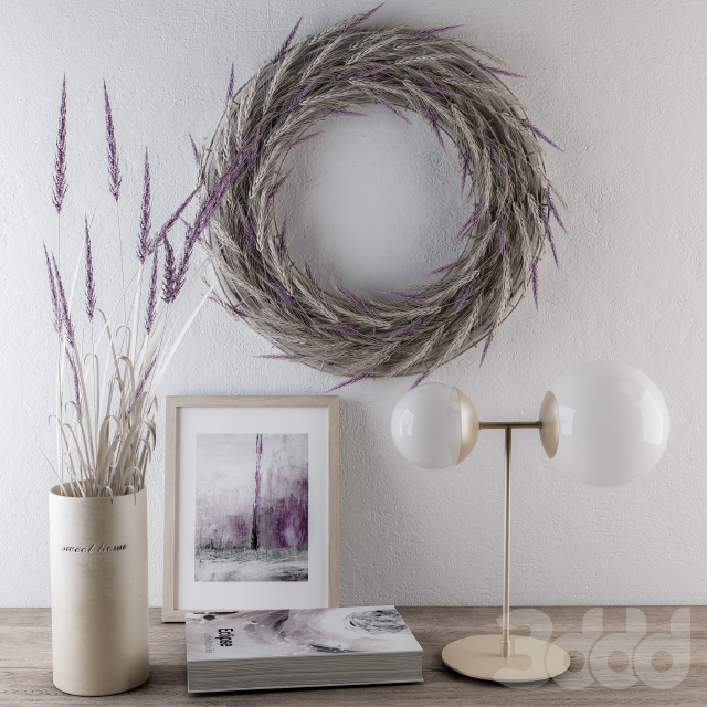 Decorative set with purple wheat Lovender