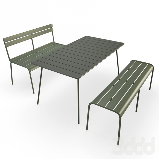 Luxembourg Metallic Table and Bench