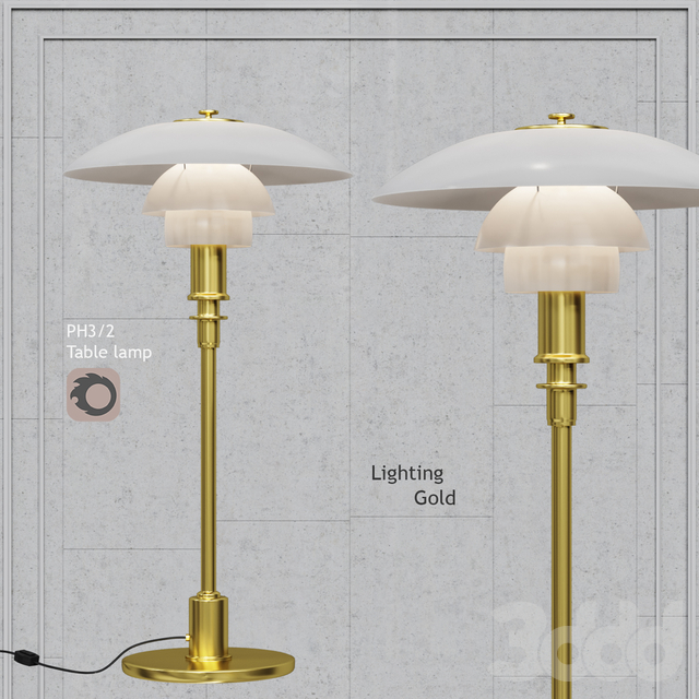 Настольная лампа Louis Poulsen PH 3/2 Table Lamp white glass and gold bace