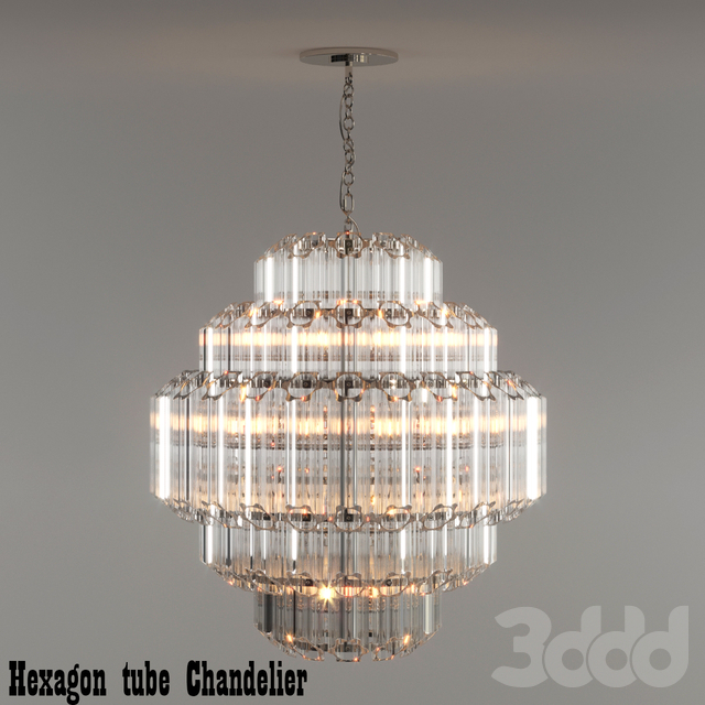 Hexagon tube Chandelier