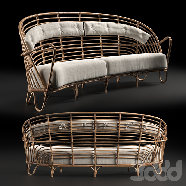 Danish Curved Rattan Sofa