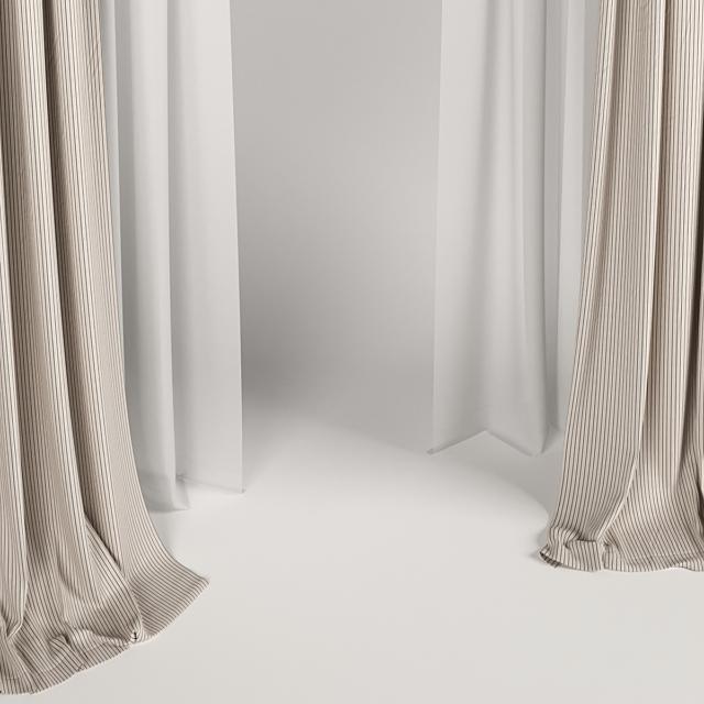 Широкие коричневые шторы с римской и тюлем.