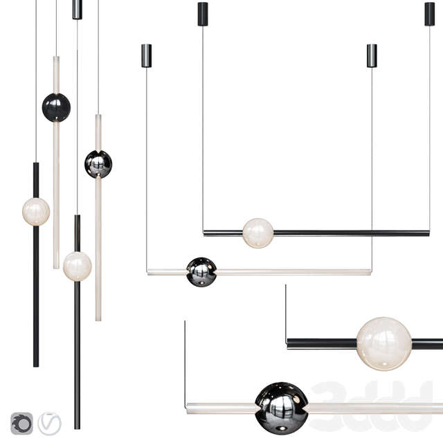 Подвесной светильник Lee Broom ORION GLOBE LIGHT Black and Chrome