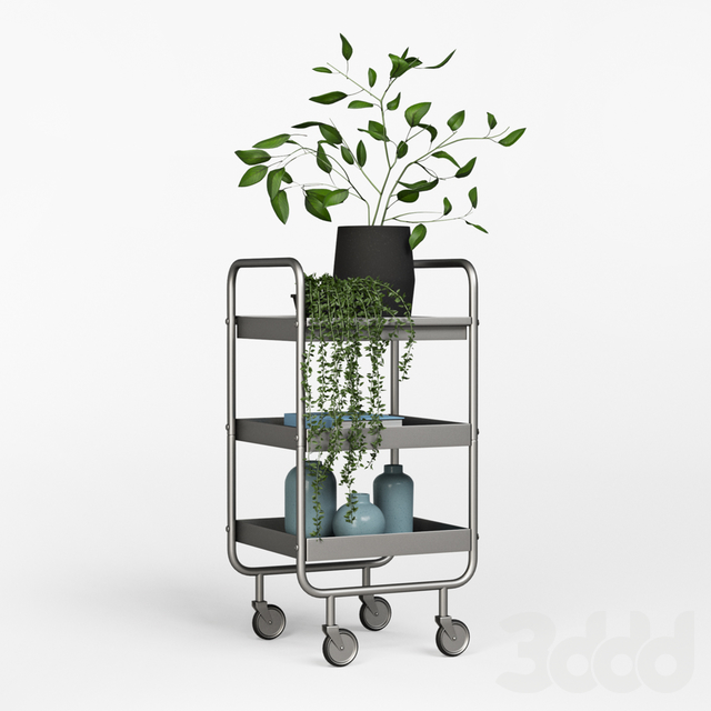 Slim Grey Metal Trolley