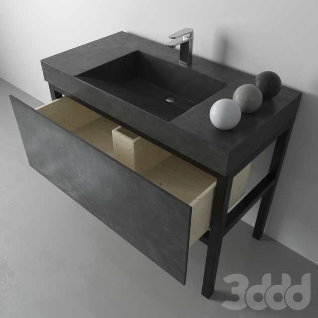 """Раковина из бетона """"Айсберг"""" на металлическом подстолье с выдвижным ящиком"""