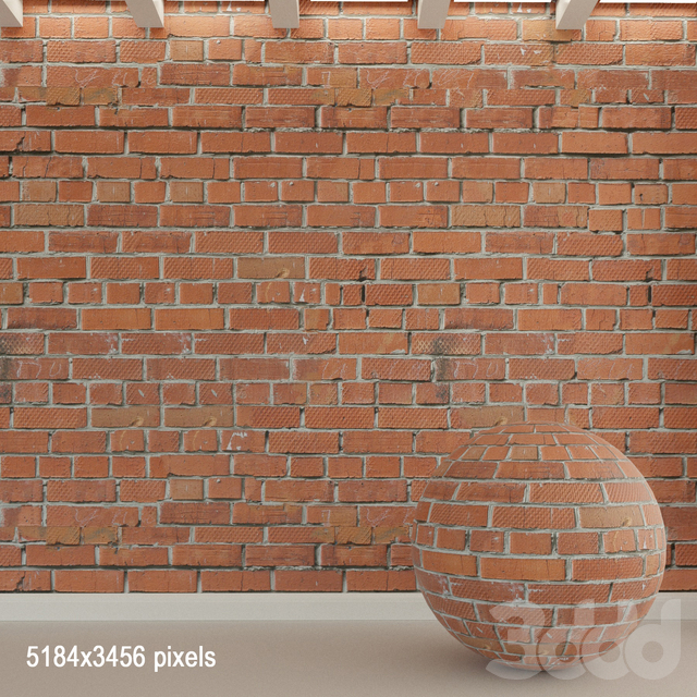 Кирпичная стена. Старый кирпич. 91