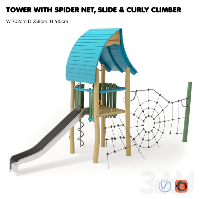 "KOMPAN. ""TOWER WITH SPIDER NET, SLIDE & CURLY CLIMBER"""