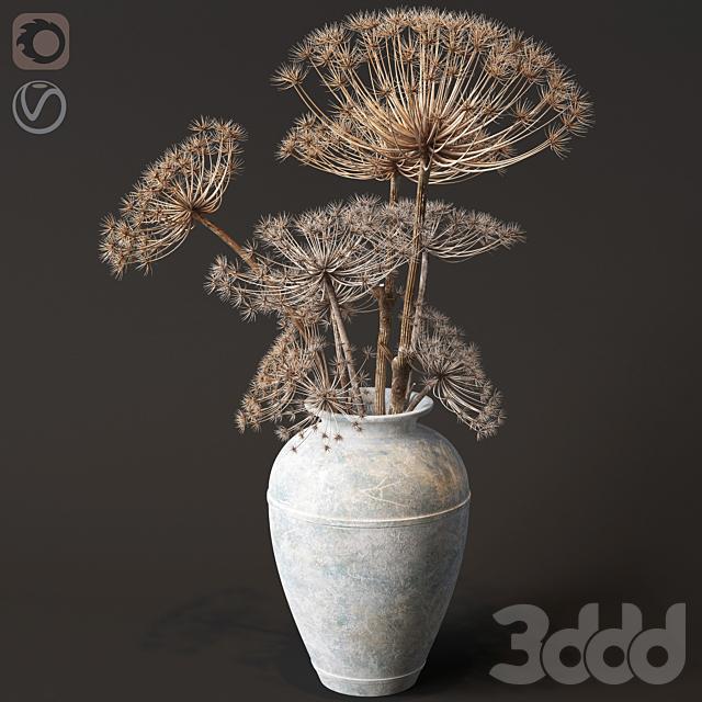 Напольная ваза с сухим борщевиком