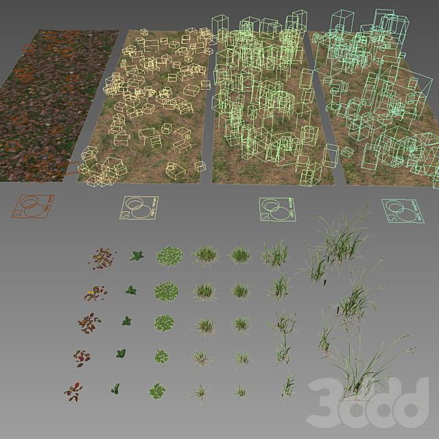 Набор травы и листьев